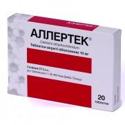 Allertec 7 tablets & 20 tablets 10mg Cetirizine Skin Allergy Rhinitis Аллертек