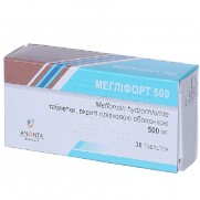 Meglifort 30 tablets 500mg Metformin Anti diabetes Меглифорт