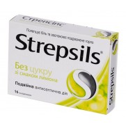 Strepsils 16 tablets thore lozenges Lemon Sugar Free Sore Throat Стрепсилс
