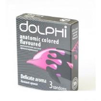 Dolphi anatomic colored flevoured 3 Condoms Delacate aroma Презервативы Dolphi